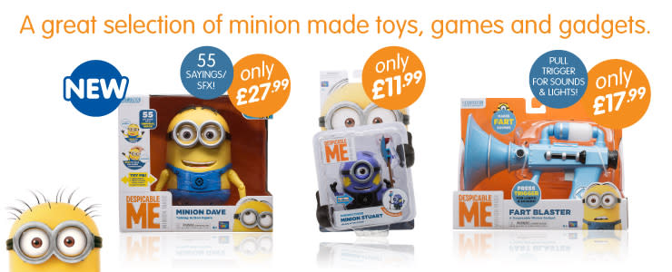 Cheap Despicable Me toys from B&M Stores. A great selection of minion made toys, games and gadgets.