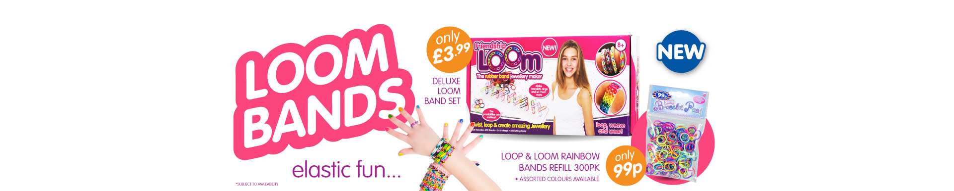 Loom Bands Kit and refills from B&M from 99p.