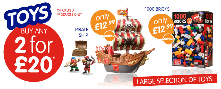 Buy any 2 for £20 Toys at B&M Stores. Large selection of boys & girls toys available.