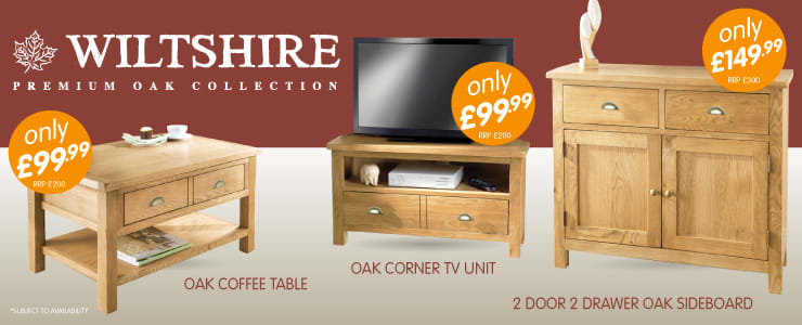 Wiltshire Oak Furniture Collection exclusive to B&M Stores.