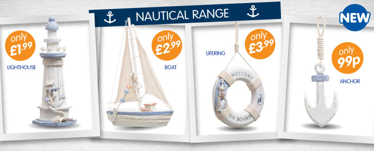 Nautical decorative range ideal for the bathroom or an ideal finishing touch to any room from 99p at B&M Stores.