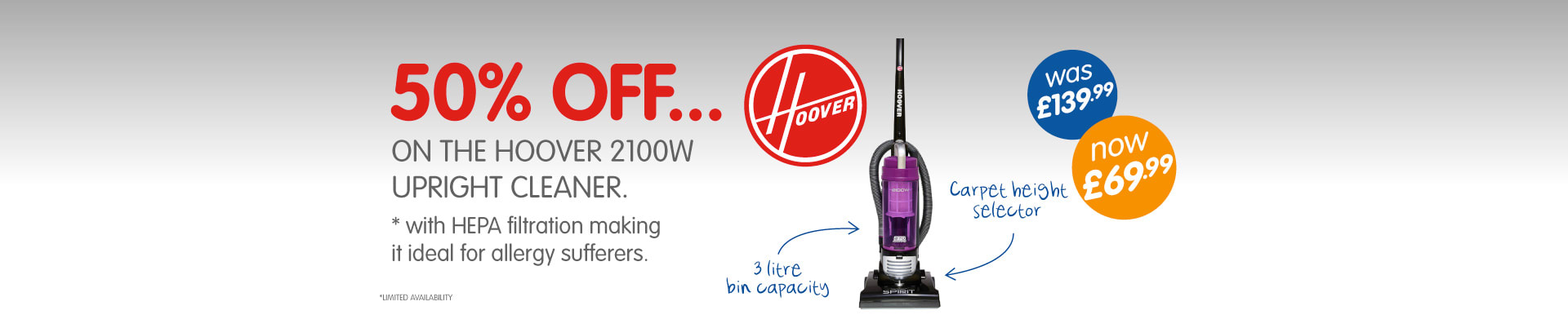 50% OFF on the Hoover 2100W Upright Cleaner from B&M Stores.