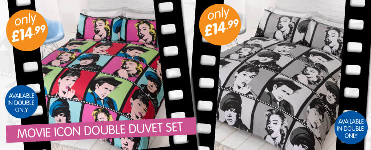 Movie Icons Double Duvet Set available from B&M Stores.