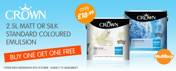 Buy One Get One Free on Crown 2.5L Matt or Silk standard coloured emulsion paint at B&M Stores. Offer ends 8th October.