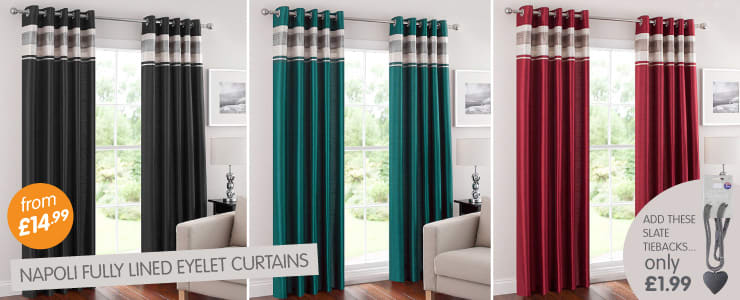 Wide range of Napoli fully lined eyelet curtains from £14.99 at B&M Stores.