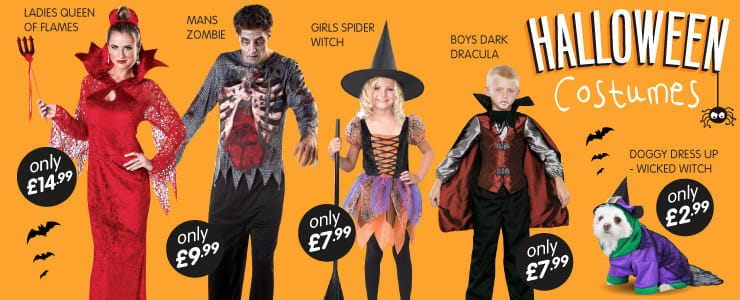 Great selection of Halloween costumes for all the family at B&M Stores.