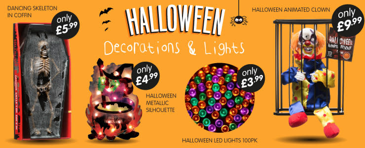 Great selection of Halloween decorations and lights available at B&M Stores.