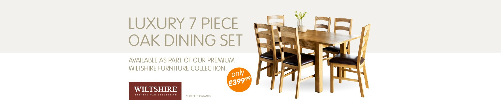 Wiltshire 7 piece Oak Dining Set only £399.99 at B&M Stores.