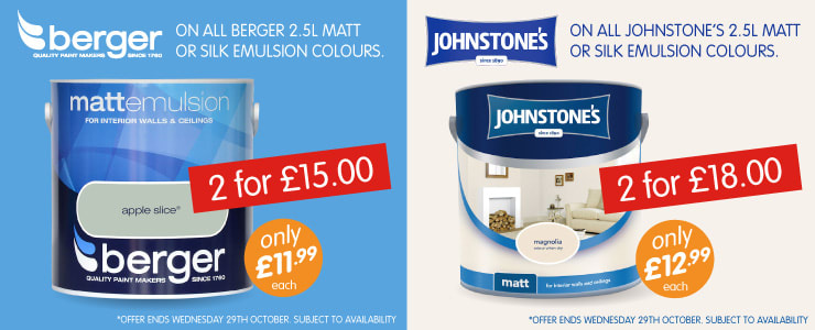 Buy Berger 2.5L Matt or Silk Emulsion Colour Paints. 2 for £15.00 at B&M Stores.
