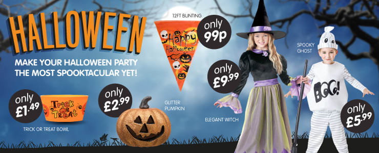 Great selection of Halloween costumes and decorations for all the family at B&M Stores.