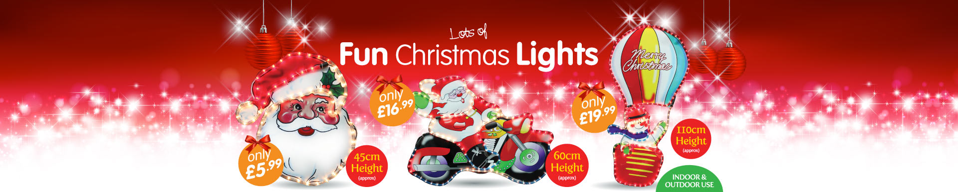 Great selection of Christmas fun lights available at B&M Stores.