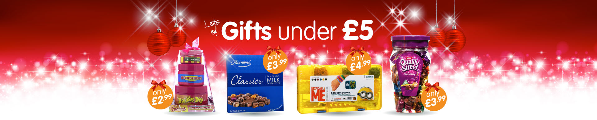 Great selection of Christmas gifts for under £5 at B&M Stores.