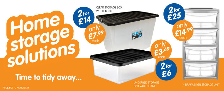 Big selection of home storage solutions available at B&M.