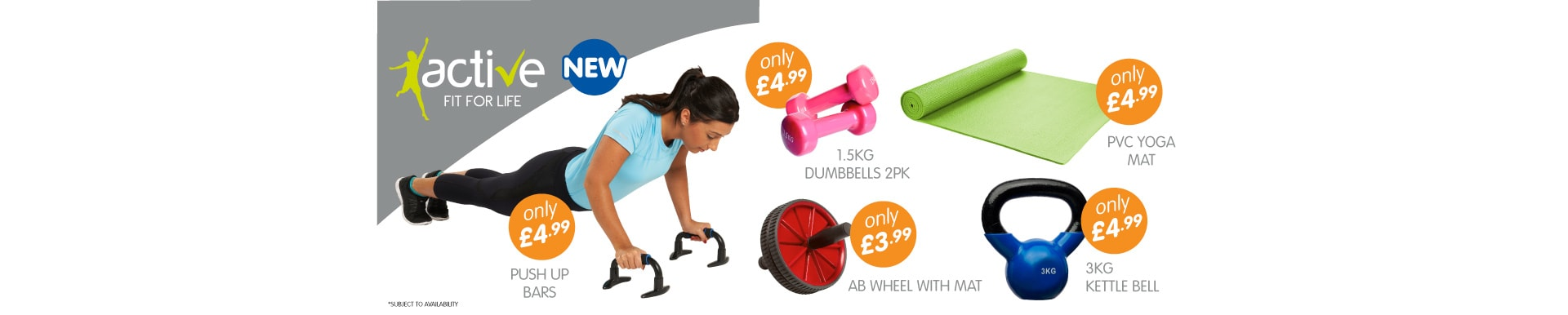 Get active with our great new Fitness Range from B&M Stores.