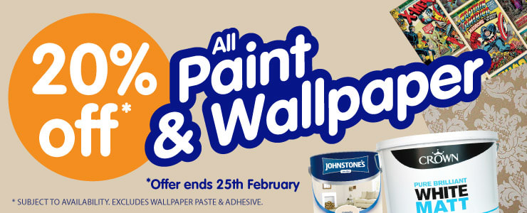 20% OFF All Paint & Wallpaper at B&M. Offer ends 25th February.