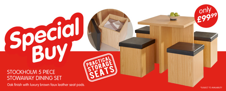 Special Buy. Stockholm 5 Piece Dining Set with practical storage seats. Only £99.99