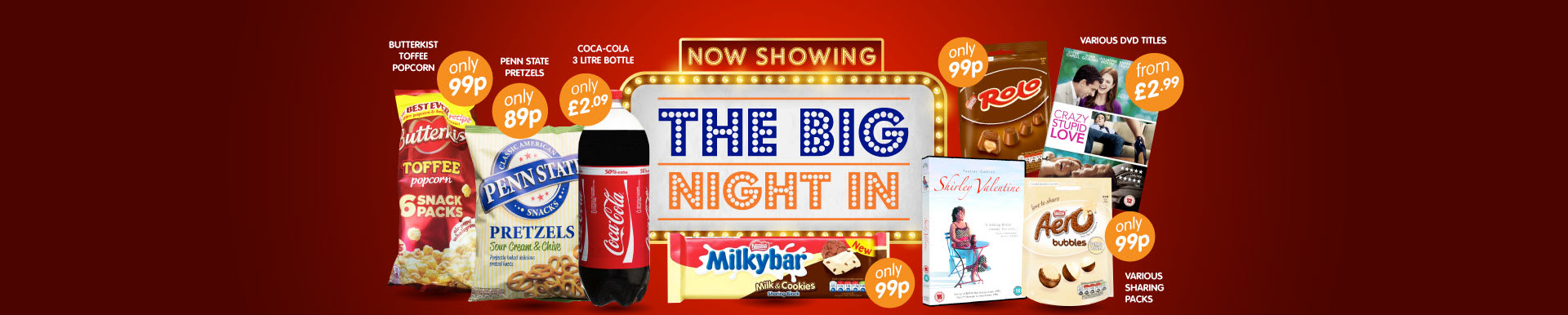 Enjoy a Big Night in with B&M. Big selection of DVDs, Chocolates, Snacks and drinks available at low prices in-store.