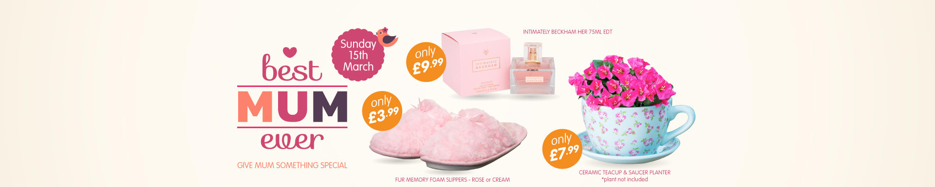 Don't forget Mothers Day on 15th March and treat her to some lovely gifts from B&M Stores.