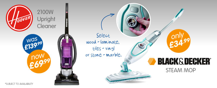 Great range of branded Vacuum Cleaners and Steam Mops available at B&M Stores.