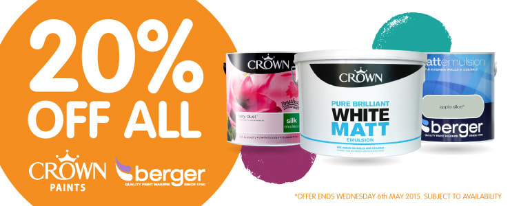 20% Off all Crown and Berger paints at B&M Stores.