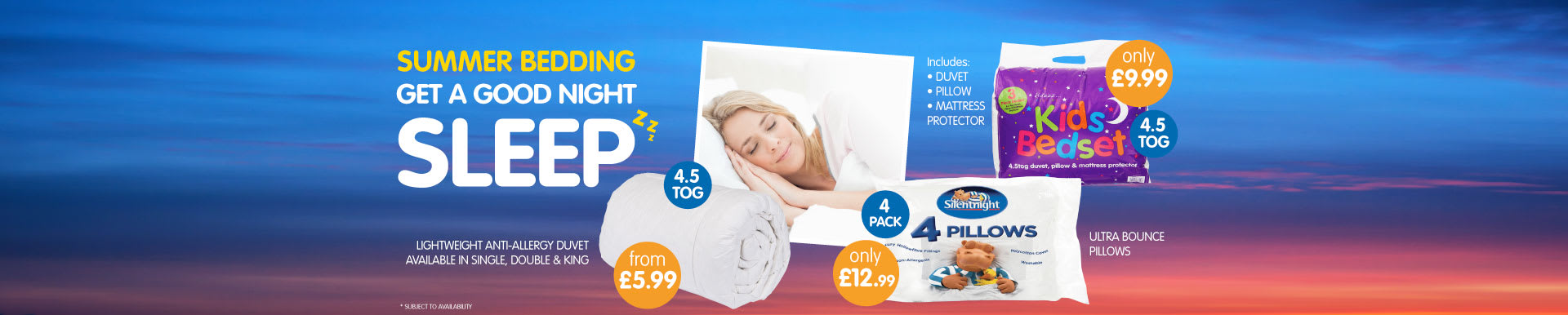 Big savings on lightweight summer duvets and ultra bounce pillows at B&M.