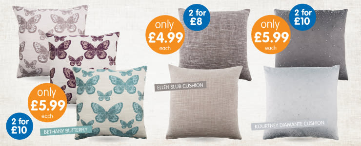 Save on our stylish cushions at B&M.