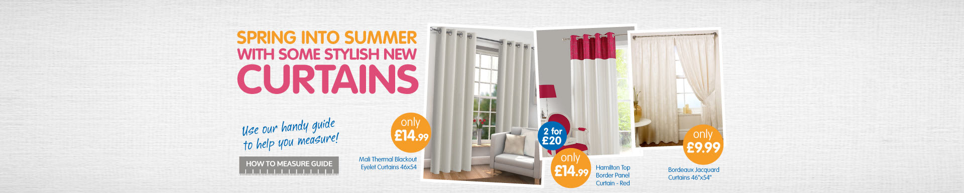 Spring into Summer with some new stylish curtains from B&M.