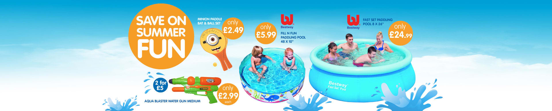 Everything the kids need to enjoy the summer heat at B&M including paddling pools and water guns.