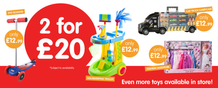 Save on 2 for £20 Toys at B&M.