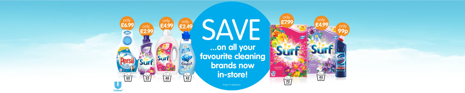 Save on all your favourite Unilever Cleaning products at B&M.