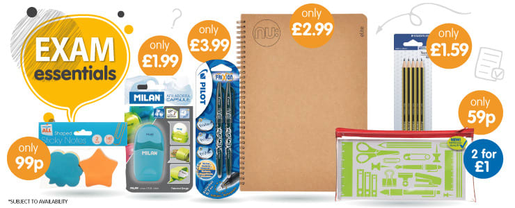 Big savings on all your big brand exam essentials at B&M.