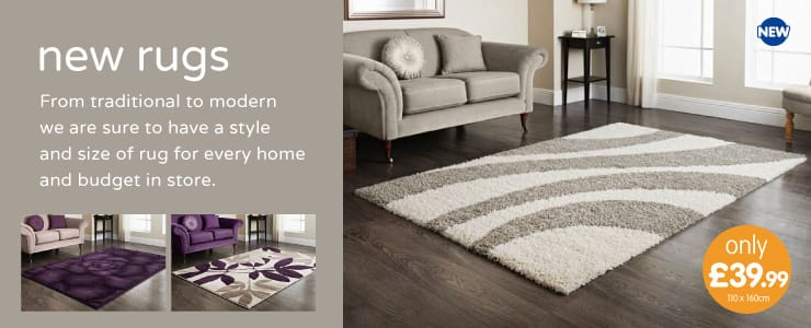 New range of Rugs now in store at B&M.