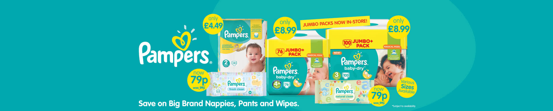 Save on Pampers nappies and wipes at B&M.
