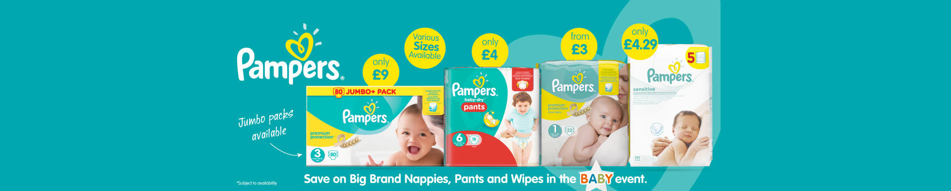 Save on Pampers at B&M.
