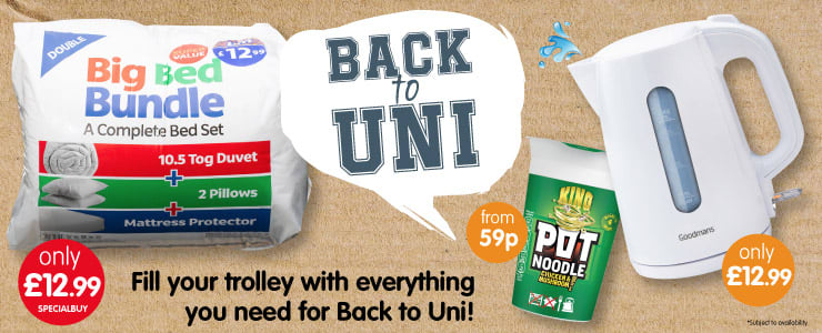 Save on everything you need for Back to Uni at B&M.