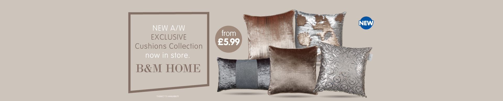 New A/W Cushions range now in store at B&M.