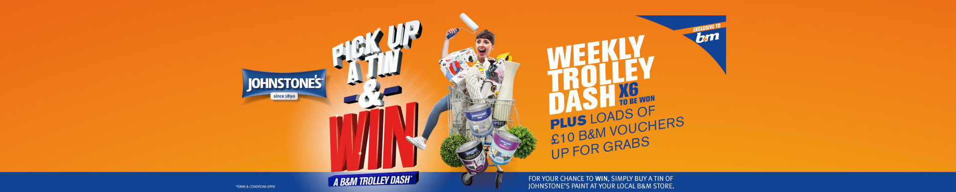 Buy a tin of Johnstone's paint and win a trolley dash at B&M.