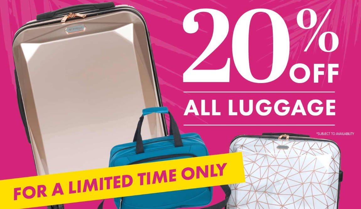 Save 20% off luggage at B&M.