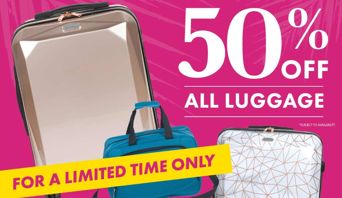 50% off Luggage at B&M.
