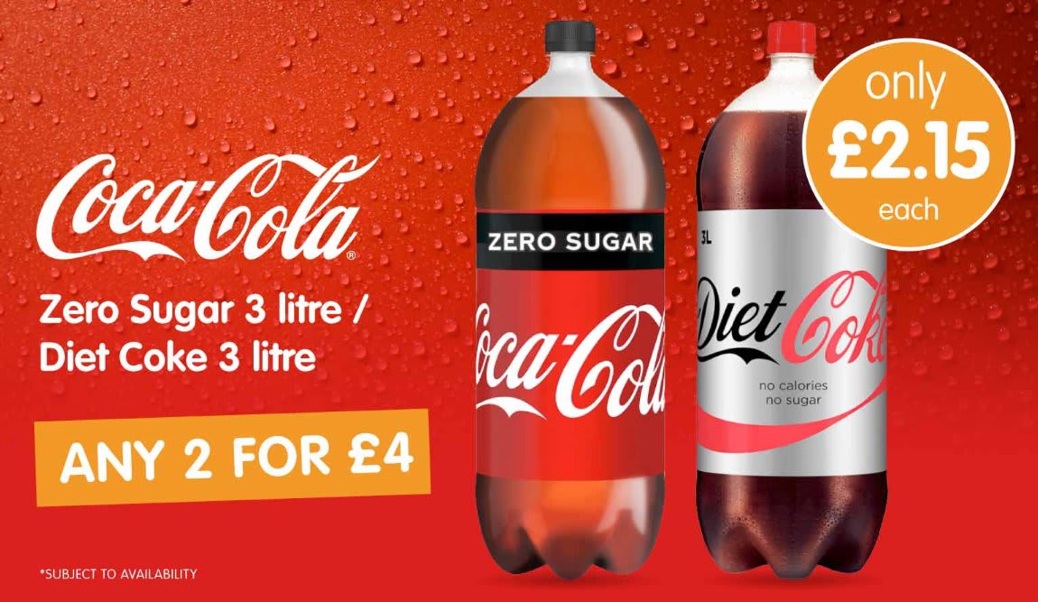 Save on Coca Cola 3 Litre at B&M.