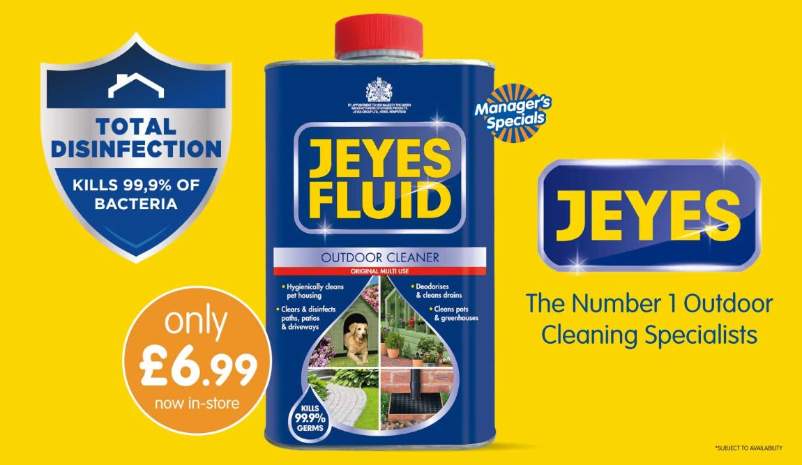 Save on Jeyes Outdoor Cleaner at B&M.