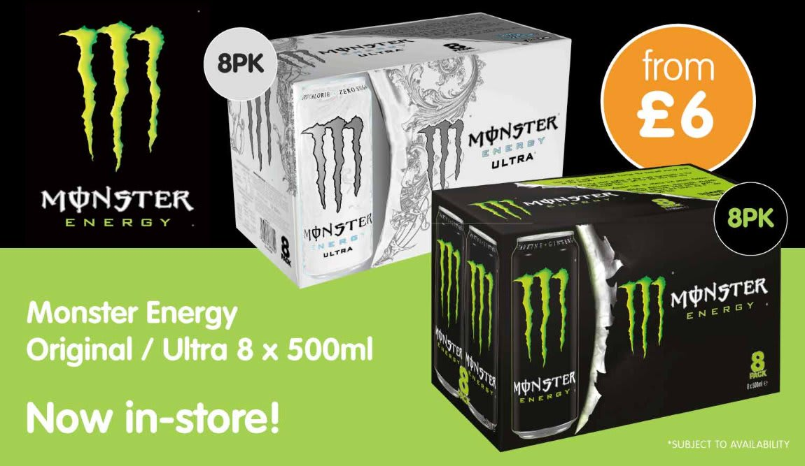 Save on Monster 8 pack at B&M.