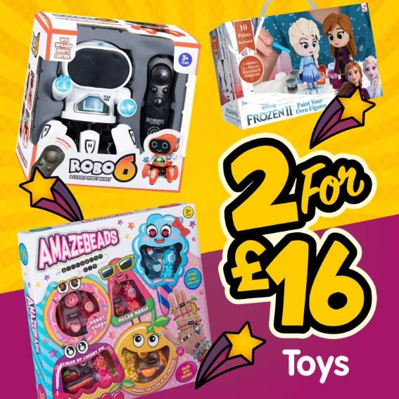 Save on 2 for £16 Toys at B&M.